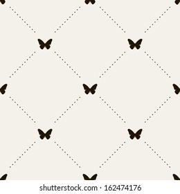 Vector seamless pattern with butterflies. Stylish graphic texture. Monochrome repeating print