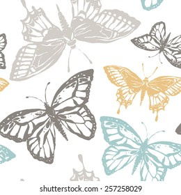 Vector seamless pattern with butterfly