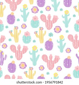 vector seamless pattern with cacti