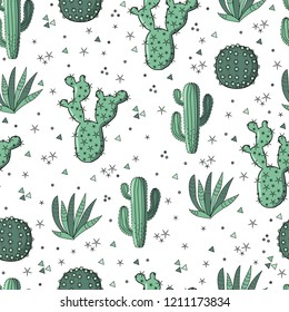 Vector seamless pattern with cactus. Hand drawing background with plants