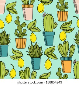 Vector seamless pattern with cactus and lemons