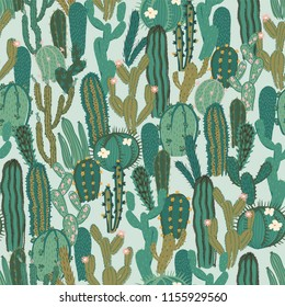 Vector seamless pattern with cactus. Repeated texture with green cacti. Natural hand drawing background with desert plants.