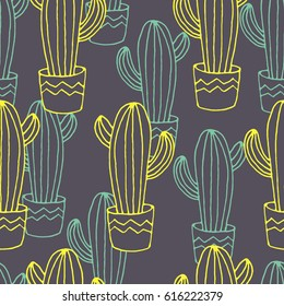 Vector seamless pattern with cactuses, hand drawn sketch with cactuses in flowerpots. Mexican style design with desert succulent