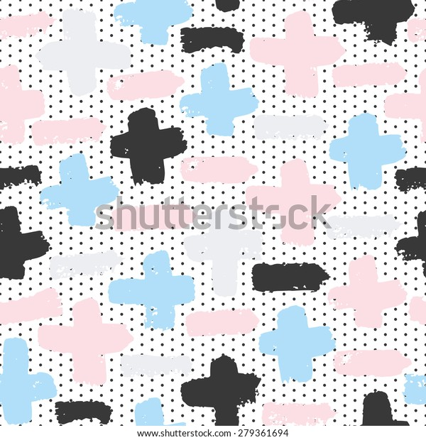 Vector seamless pattern with calligraphic brush strokes pluses and minuses on dots background. Pink, blue, gray, black and white colors. Good for wedding invitation, birthday card, school notebook.