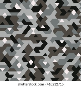 vector seamless pattern in camouflage style, pixel pattern textile, abstract background