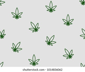 Vector Seamless Pattern Cannabis Leaf