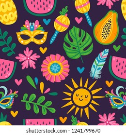 Vector seamless pattern with carnival elements. Repeated texture with bright summer obeject. Background for Brazil carnival party.