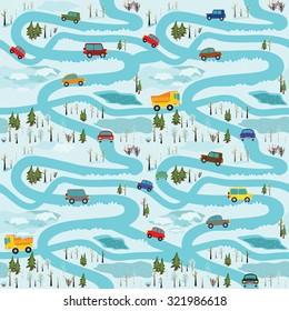 Vector sin fisuras con coches y equipo de construcción en las carreteras forestales de invierno. Se puede utilizar como patrón para el tejido, papel de envoltura, alfombras de juego para niños, juegos de mesa, etc.