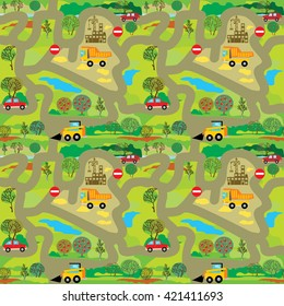 Vector seamless pattern with lot of cars on the roads.