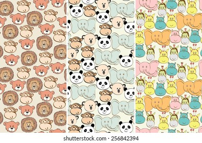 Vector seamless  pattern with cartoon animal face.