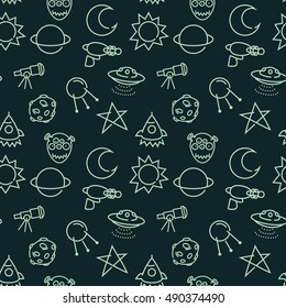 Vector seamless pattern with cartoon baby  styled space pictograms.