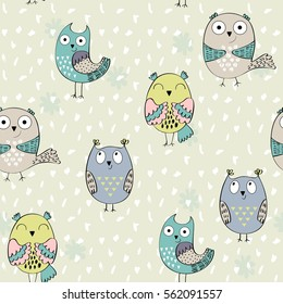 Vector seamless pattern with cartoon baby owls.