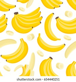 Vector seamless pattern with cartoon banana isolated on white. Branch of juice fruit. Illustration used for magazine, book, poster, card, menu cover, web pages.