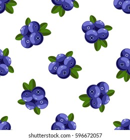 Vector seamless pattern with cartoon bluberries with green leaves isolated on a white. Cute illustration used for magazine, book, poster, card, menu cover, tag, textile, badge, web pages.