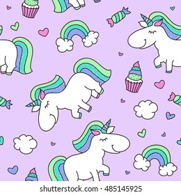 vector seamless pattern of cartoon cute unicorn with rainbow, clouds and sweets