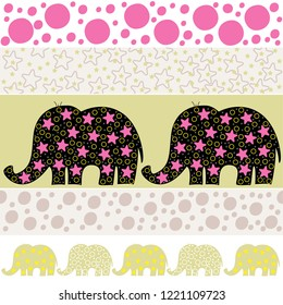 Vector seamless pattern with cartoon elephants. Vector illustration with cartoon elephants. Print for wallpaper and textiles. Vector textile fabric print