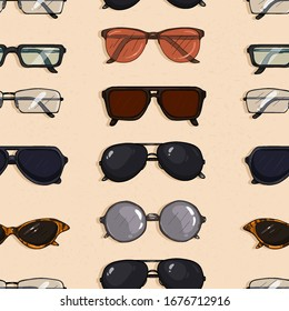 Vector Seamless Pattern of Cartoon Eyeglasses on Sand Background