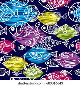 Vector seamless pattern with cartoon fish. Cute fish for fabric, baby clothes, background, textile, wrapping paper and other decoration. Doodles trendy style.