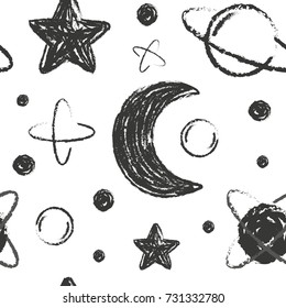 Vector seamless pattern with cartoon hand drawn star,planet and moon. Design for baby, child or adult clothing like t-shirts or pajamas