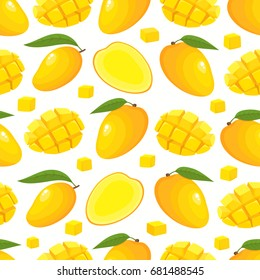 Vector seamless pattern with cartoon mango isolated on white. Bright slice of tasty fruits. Illustration used for magazine, kitchen textile, greeting cards, menu cover, web pages.