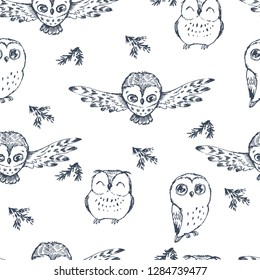 Vector seamless pattern with cartoon owls in forest. Hand drawn texture with cute birds and fir branches.