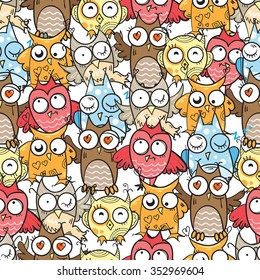 Vector seamless pattern with cartoon owls on white background.