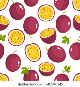Vector seamless pattern with cartoon passion fruits isolated on white. Bright slice of tasty fruits. Illustration used for magazine, kitchen textile, greeting cards, menu cover, web pages.