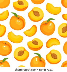 Vector seamless pattern with cartoon peaches isolated on white. Bright slice of tasty fruits. Illustration used for magazine, kitchen textile, greeting cards, menu cover, web pages.