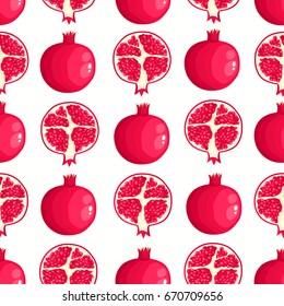 Vector seamless pattern with cartoon pomegranates isolated on white. Bright slice of tasty fruits. Illustration used for magazine, book, poster, card, menu cover, web pages.