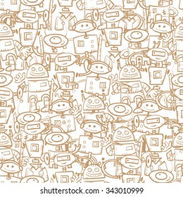 Vector seamless pattern with cartoon robots  on  white  background.