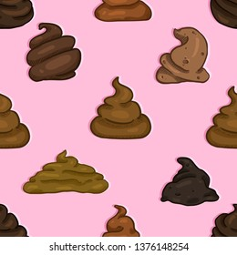 Vector Seamless Pattern of Cartoon Shit on Pink Background