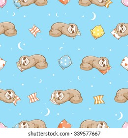 Vector seamless pattern with cartoon  sloth  and pillows on blue  background.