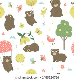 Vector seamless pattern of cartoon style hand drawn flat bears in different poses. Repeat background of funny scenes with Teddy. Cute illustration of woodland animals for children's design, clothes