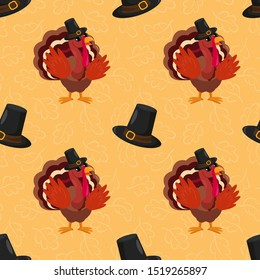 Vector seamless pattern with cartoon turkey bird for Happy Thanksgiving celebration. Holiday design for greeting card, gift box, wallpaper, fabric, web design.