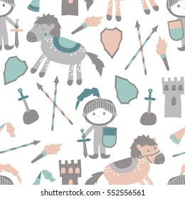 Vector seamless pattern with castle, shield, horse and little prince. Cute magic collection with fairy elements and characters. Cartoon baby background perfect for wrapping paper or fabric textile