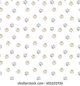 Vector seamless pattern with cat or dog footprints. Can be used for wallpaper, web page background, surface textures.