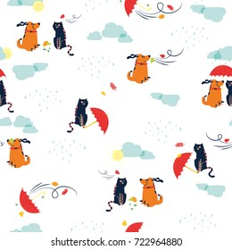 Vector seamless pattern with cat and dog, umbrella. Autumn weather.