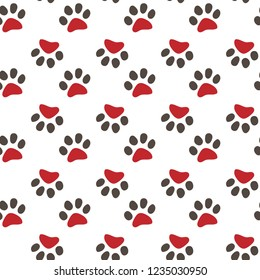 Vector seamless pattern with cat footprints. Can be used for wallpaper,fabric, web page background, surface textures.