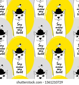Vector seamless pattern with cats and birds. Hand drawn illustration of kitten and birdie with bowler hat. 5