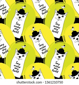 Vector seamless pattern with cats and birds. Hand drawn illustration of kitten and birdie with bowler hat. 4