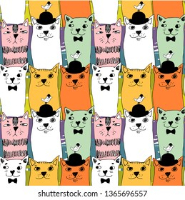 Vector seamless pattern with cats and birds. Hand drawn illustration of kitten and birdie with bowler hats. 1