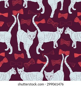 Vector seamless pattern with cats and bowtie