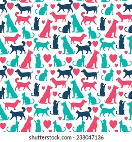 Vector seamless pattern with cats and dogs