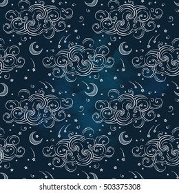 Vector seamless pattern with celestial bodies - moons, stars and clouds. Boho chic print hand drawn textile design