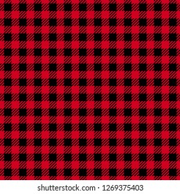 Vector Seamless pattern. Cell background red color fashion cloth in a cage. Abstract checkered backdrop on dark.