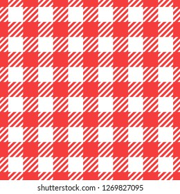 Vector Seamless pattern. Cell background red color fashion cloth in a cage. Abstract checkered backdrop on white.