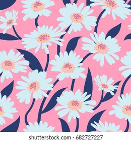 Vector seamless pattern with the chamomiles on a pink background in vintage style for textile