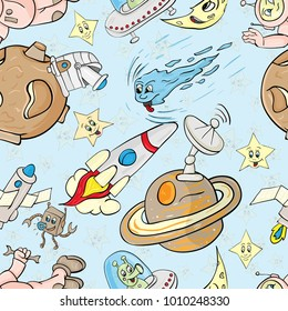 vector seamless pattern with the characters on the space theme blue background