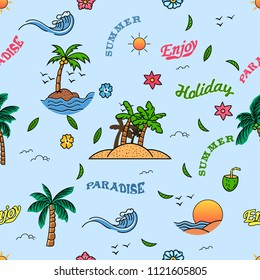Vector  seamless pattern of cheerful summer beach holiday.