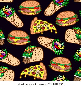 Vector seamless pattern with cheeseburger, hamburger, wrap roll, pizza slice, taco. Background for menus, recipes, and packages. Black backdrop.